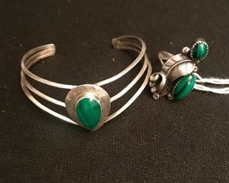 Sterling and malachite gem bracelet, signed. Sterling ring with malachite stone.