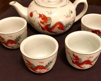 Red Dragon bone china tea set