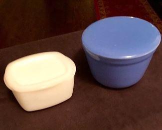 Small white refrigerator dish marked F. Blue round refrigerator dish marked Oxford Ware USA