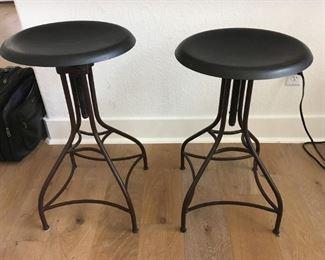 3 metal adjustable bar stools