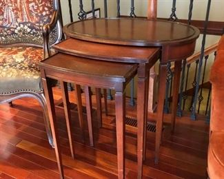 3 antique stacking tables