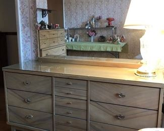 Harmony House Mid-Century modern dresser with mirror and matching highboy......