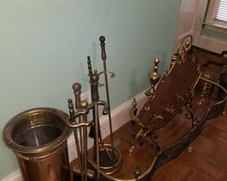 Brass fireplace implements