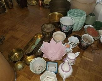 Various planters, teapots and brass