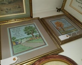 Mother, Dad needlepoint pictures