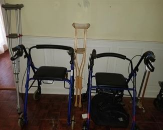 Walkers, crutches, canes