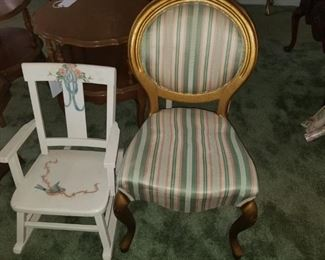 Child's rocker and gold leaf vanity chair
