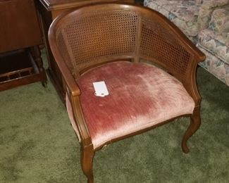 Wood and rattan parlor chair