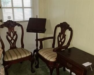 Mahogany end table, pair of cherry chairs and mahogany music stand