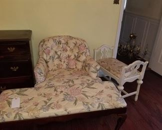Bedroom chair with matching bench seat and bathroom vanity bench