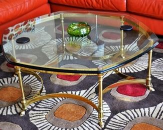LaBARGE BRASS OCTAGON COFFEE TABLE