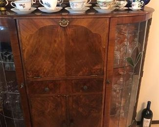 Antique wood bar with drop down cabinet/shelf and storage for glasses, liquor bottles, etc