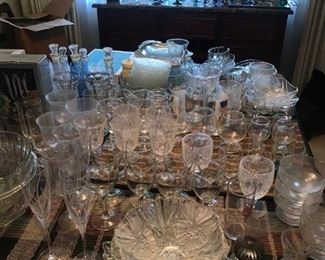Assorted crystal dishes, serveware and glasses