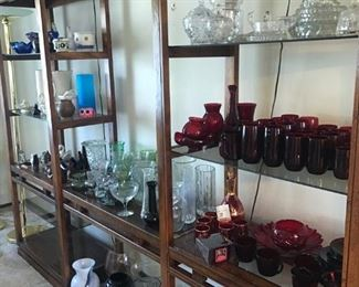 Lots of vases, crystal pieces, collectibles, etc. - plus the display shelving is also available for sale!