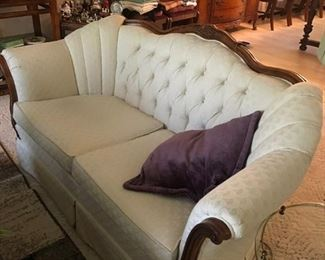 Matching wood trimmed love seat