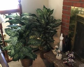 Faux plants, collectibles and fireplace accessories