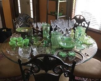 Large collection of depression and Vaseline glass