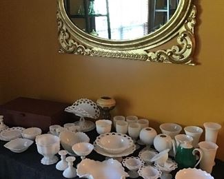 Large collection of milk glass