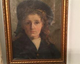 Original oil on canvas - portrait of a boy - late 1800's