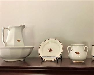 """copper """"Tea Leaf"""" ironstone by Alfred Meakin and Anthony Shaw and Son"""