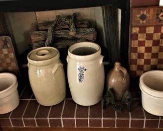 Crockery churns, jugs and pots