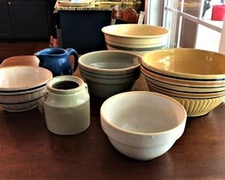 Crockery bowls and pitcher