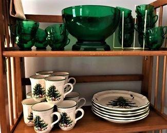 "Green Depression glass punch bowl and 23 cups.               Mikasa ""Festive Season"" china"