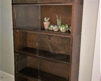 midcentury bookcase with sliding glass doors