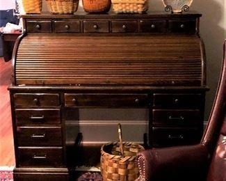 Ethan Allen antique pine roll top desk