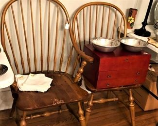 Windsor chairs and silver chest