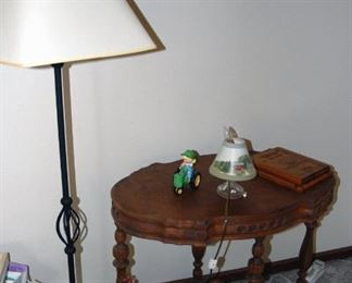 Floor Lamp & Antique Table
