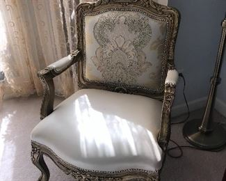 "CUSTOM MADE CREAM LEATHER  CHAIRS -2 AVAILABLE  29"" width 24"" depth x 40"" height"