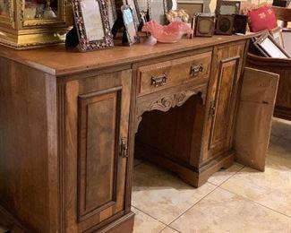Solid wood desk.