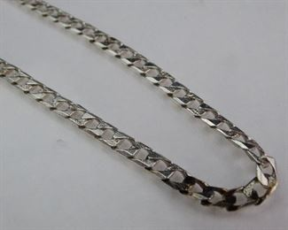 Mens 925 Sterling Silver 22 Flat Chain Link Necklace