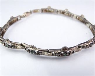 Silver Link Bracelet w Small Green Accent Stones