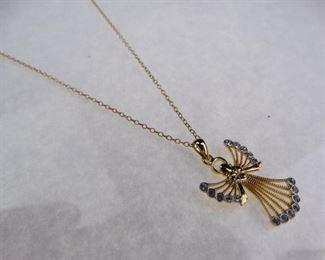 SilverGold Vermeil Angel Pendant neckalce