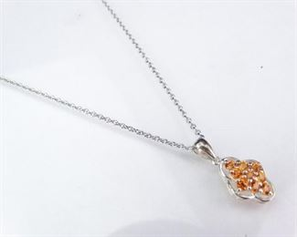 Sterling Silver Pendant Necklace with Orange CZs