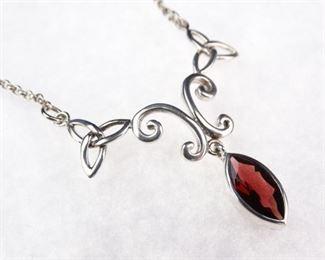 Sterling Silver Scrolled Garnet Pendant Necklace