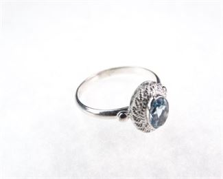 .925 Sterling Silver & Blue Topaz Engagement Band, Size 7