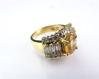 GoldColored Ring with Yellow and White Stone