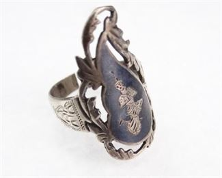 Siam Sterling Silver, Adjustable Ring, Size 8