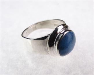 Silver & Lapis Lazuli Ring, Size 8