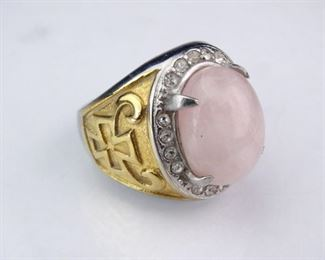 Silver and GoldColored Maltese Cross Signet Ring w Pink Cabuchon Stone
