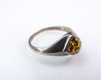 Sterling Silver Band with Amber Center Stone