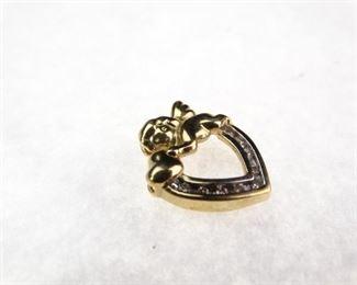 14K Yellow Gold Diamond Heart PendantCharm