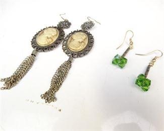 Cameo & Emerald Colored Dangle Earrings (2)
