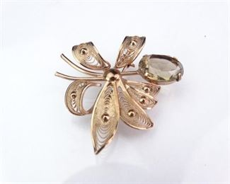 20K Rose Gold Foil Brooch with Yellow Glass Stone