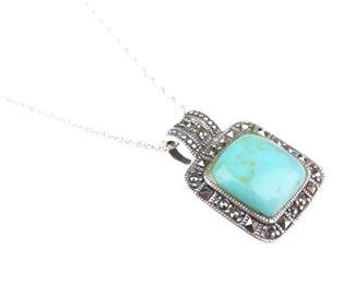 Silver Turquoise Pendant Necklace