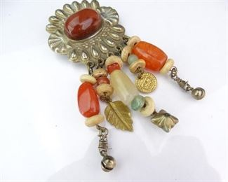 Silver and GoldColored Brooch with Beaded