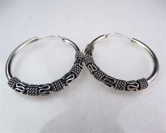 Silver Byzantine Bali Hoop Earrings